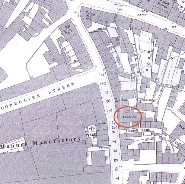 map showing the pub in 1881