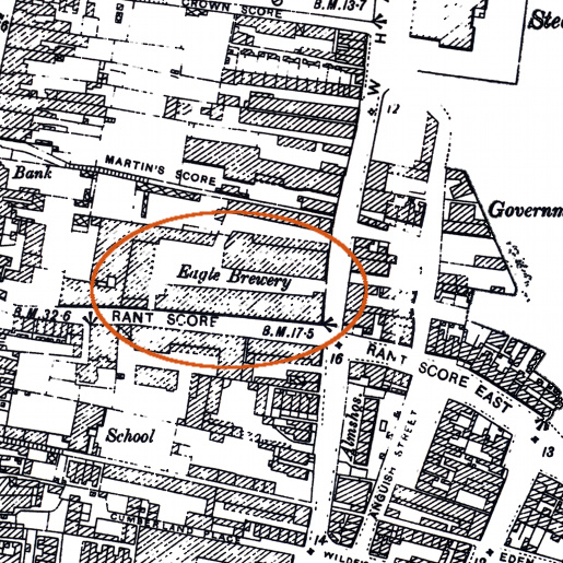 Eagle brewery shown on the 1905 OS map